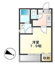 クレフラスト広川A棟[2階]の間取り
