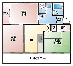 ビレッジハウス直方2号棟[3階]の間取り