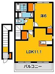 ラフレシールB[2階]の間取り