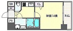 ララプレイス四天王寺夕陽ケ丘プルミエ 7階1Kの間取り