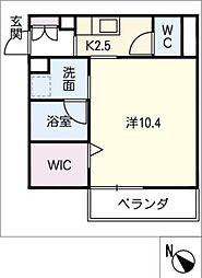 仮)JA賃貸豊田市金谷町2丁目 2階1SKの間取り