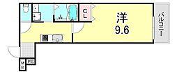 フジパレス江坂町 1階1Kの間取り
