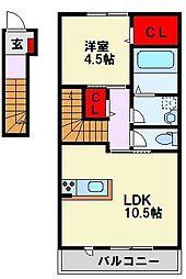筑豊電気鉄道 楠橋駅 徒歩7分の賃貸アパート 2階1LDKの間取り