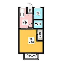 コーポラスムロフシ[1階]の間取り