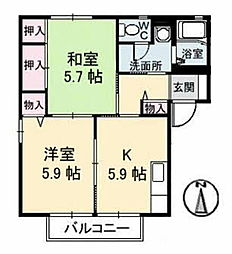岡山県総社市小寺の賃貸アパートの間取り