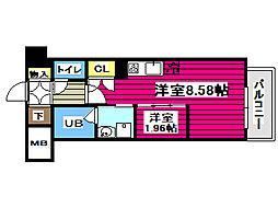 上杉ガーデンスクエア 3階ワンルームの間取り