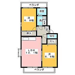 エトワール桜 B棟[3階]の間取り
