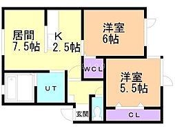 (新築)豊岡13−3AP 1階2LDKの間取り