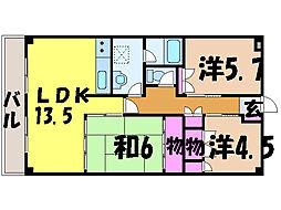 愛媛県松山市本町6丁目の賃貸マンションの間取り