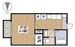 東京都昭島市郷地町1丁目の賃貸アパートの間取り