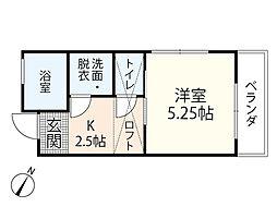 Town House鶴江 2階1Kの間取り