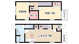 [テラスハウス] 愛知県名古屋市南区観音町3丁目 の賃貸【/】の間取り
