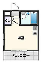 セレーン清和園 2階ワンルームの間取り