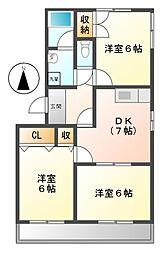 愛知県北名古屋市六ツ師北屋敷の賃貸マンションの間取り