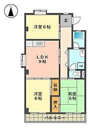 愛知県名古屋市名東区陸前町の賃貸マンションの間取り