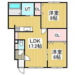 仮)ラ・ビ・アンローズ美園(2LDK)[102号室]の間取り