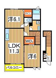 アニメート欅3[2階]の間取り