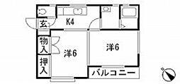 広島県広島市中区江波西1丁目の賃貸アパートの間取り