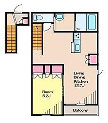Casa Riviera カーサリヴィエラ 2階1LDKの間取り
