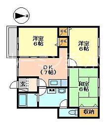 兵庫県三木市別所町近藤の賃貸アパートの間取り