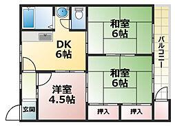 六甲ロイヤルマンション[4階]の間取り
