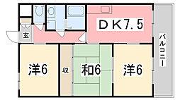 兵庫県姫路市北八代1の賃貸マンションの間取り
