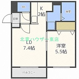北海道札幌市西区発寒七条9丁目の賃貸マンションの間取り