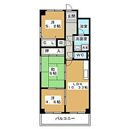 TWINS白壁S棟[3階]の間取り