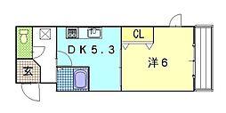 京都府京都市東山区高畑町の賃貸マンションの間取り