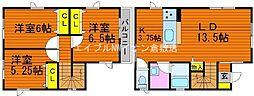 [一戸建] 岡山県倉敷市大内 の賃貸【/】の間取り