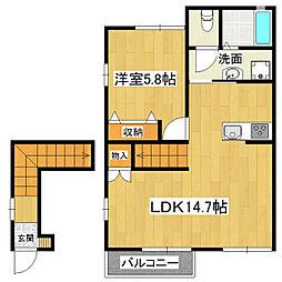 ウエストビラA棟[2階]の間取り