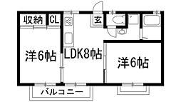 大阪府池田市鉢塚3丁目の賃貸アパートの間取り