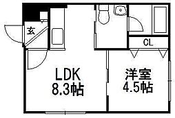 e's東札幌[303号室]の間取り