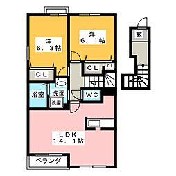 フレスクーラーA[2階]の間取り