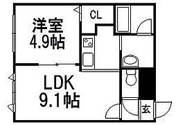 北海道札幌市豊平区豊平四条5の賃貸マンションの間取り