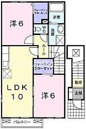JR津山線 玉柏駅 徒歩24分の賃貸アパート 2階2LDKの間取り