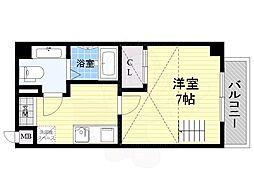 ラ・フォーレ東野田 8階1Kの間取り