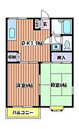 東京都昭島市宮沢町1丁目の賃貸アパートの間取り