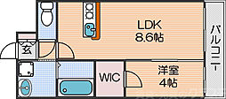 Osaka Metro四つ橋線 北加賀屋駅 徒歩8分の賃貸マンション 7階1LDKの間取り