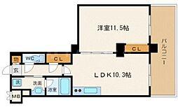 ルクレ内久宝寺(旧 ベルファース内久宝寺) 12階1LDKの間取り