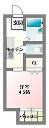 大阪府寝屋川市長栄寺町の賃貸アパートの間取り