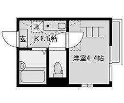 東京都大田区南蒲田1丁目の賃貸アパートの間取り