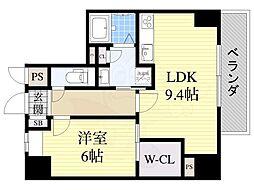 シークリサンス神戸 5階1LDKの間取り