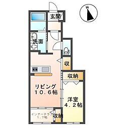 仮)田村町徳定アパート 1階1LDKの間取り