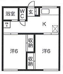 東京都調布市深大寺元町3丁目の賃貸アパートの間取り
