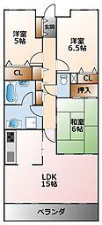甲子園三番町ハイツ[4階]の間取り