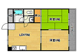 ハイツ菊水[3階]の間取り