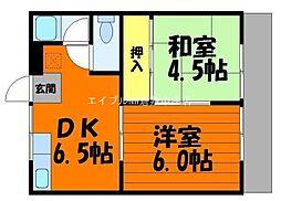 岡山県倉敷市西阿知町新田丁目なしの賃貸アパートの間取り