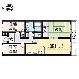 プルーリオン亀岡 4階3LDKの間取り