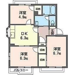 ライフタウニ—C街区 3号棟[2階]の間取り
